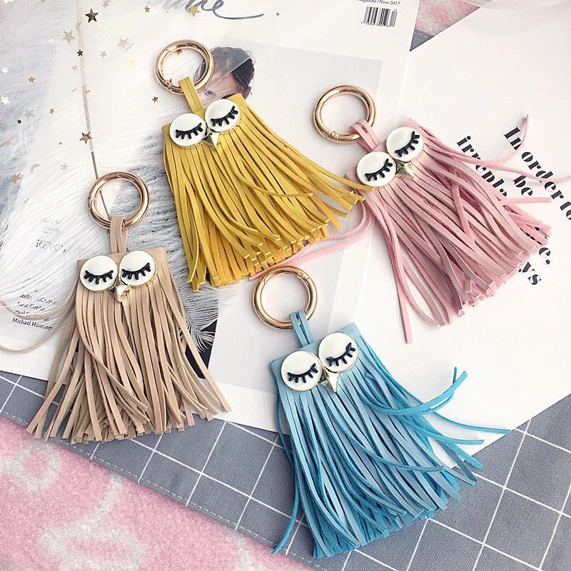 New Arrival Cute Owl Monster PU Leather Tassel Keychain Car Key Chain Key Ring Women Bag Accessories Pendant
