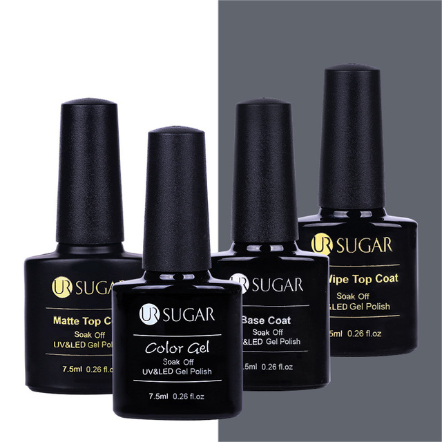 UR SUGAR Black White Nail Gel Polish Soak Off UV Top Coat + Base Coat Opal Jelly Gel Lacquer Long-lasting 7.5ml Nail Varnish