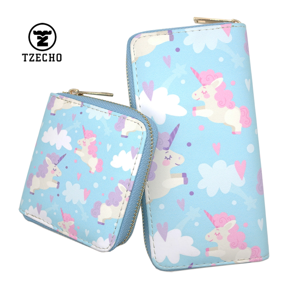 TZECHO Zipper Around Womens Wallet PU Print Cartoon Unicorn Set Female Clutch Purses Small Credit Cards Holder Ladies Wallets 2017 new ladies purses in europe and america long wallet female cards holders cartoon cat pu wallet coin purses girl