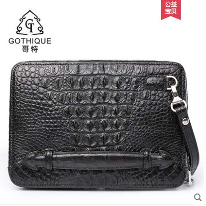 gete 2019 new Crocodile leather handbag for men horizontal style square  personality double zipper hand bag large capacity wrist