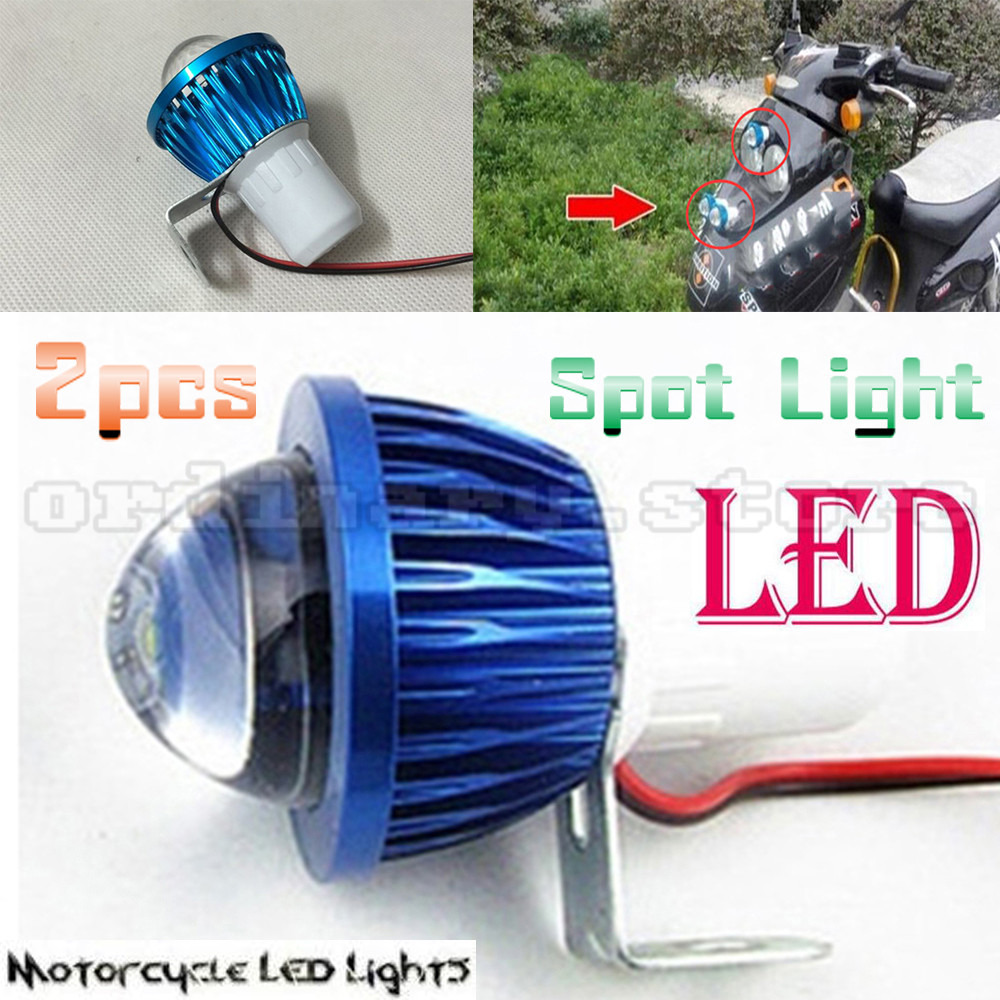 2pcs Fisheye Lens LED Motorcycle Headlight Work Head Light Driving Fog Spot Night Lamp Universal For All Electric Moto Bike