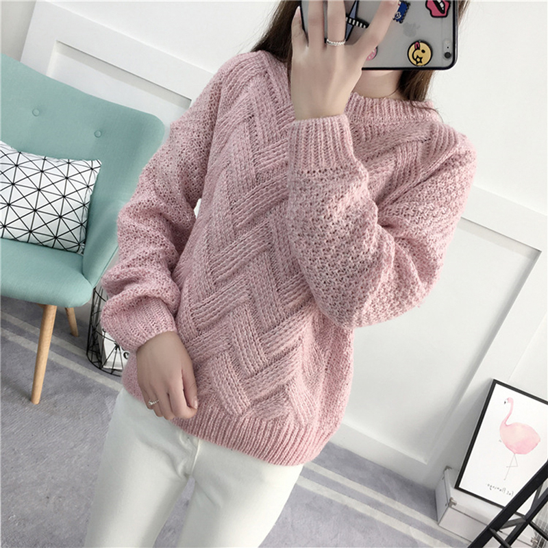 1 Pc Neue Pullover Pullover Pullover Frau Gestrickte Pullover Lange Hülse Lose O-ansatz Hedging Weibliche Pullover Pullover Pull Femme