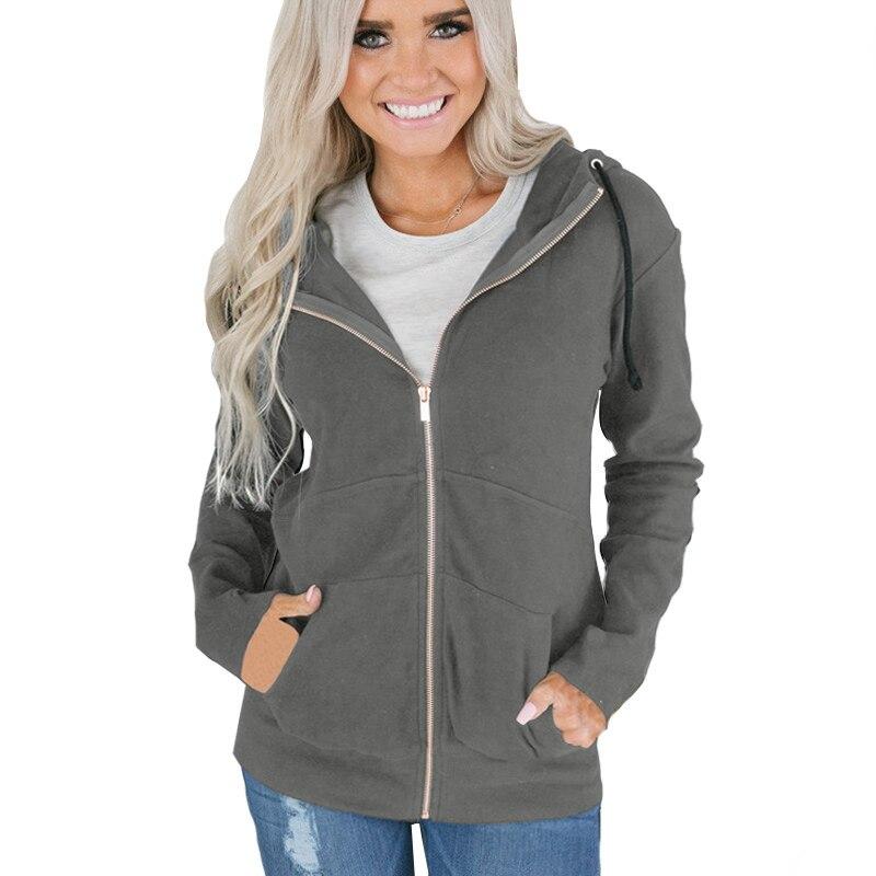 Autumn Winter Zipper Up Hoodies Sweatshirts New Casual Loose Solid Cotton Hoodies Women Sweatshirts 2019 Sleeve Hooded Hoodies