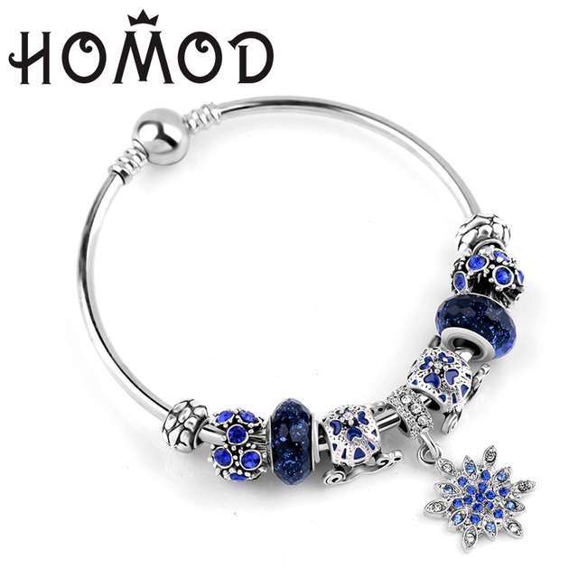 HOMOD Simple Stars Bracelets Silver Color Snowflake Pendant Bracelets with Pumpkin Car Girl Pandora Bracelet Jewelry