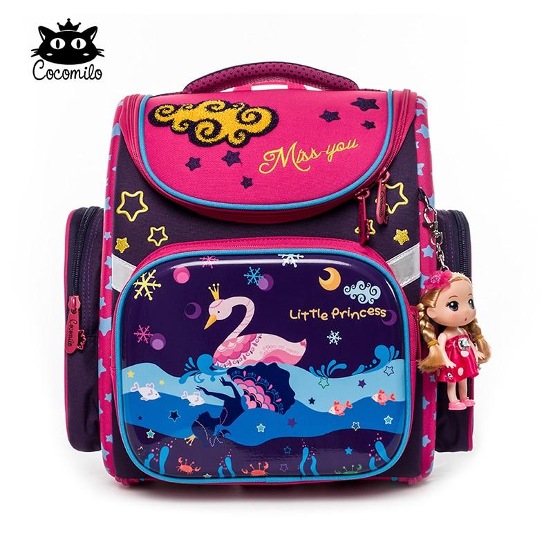2018 New Design Orthopedic Cocomilo School Bags Girls Mermaid Swan Lake Waterproof Backpack Cat primary School Mochila Infantil
