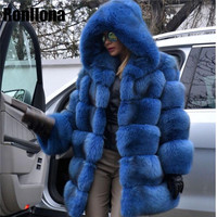 Women Warm Real Fox Fur Coat Long With Hood Winter Fur Jacket Outwear Natural Fox Fur Coats For Women Natural Plus Size FC 015