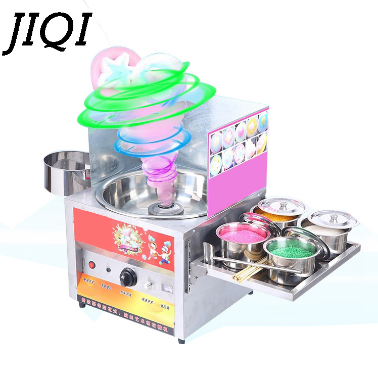 JIQI Commercial fancy gas use sweet cotton candy maker candyfloss cotton sugar floss machine snack equipment flower children kid fast food leisure fast food equipment stainless steel gas fryer 3l spanish churro maker machine