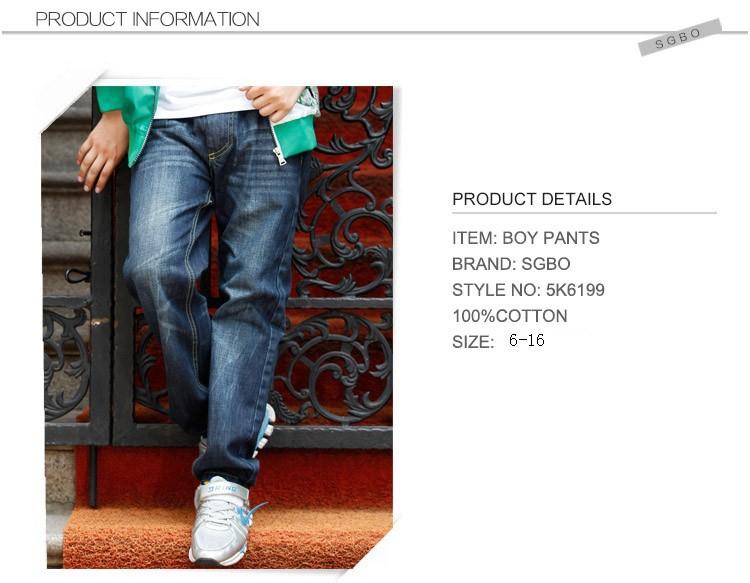 2015 New Fashion Big Boys Jeans Kids High Quality Brand Denim Trousers Children Casual Cowboy Pants Big Size 6 8 10 12 14 16 Y (3)