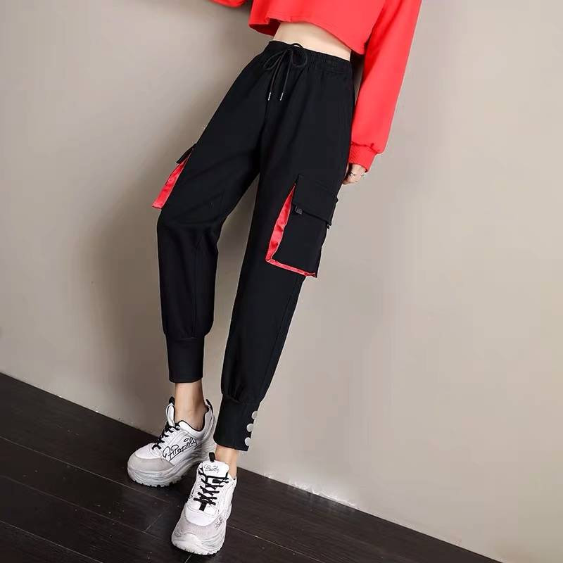 Hip Hop Cargo   Pants   Women Harajuku Punk Casual   Pants     Capris   Elastic High Waist Trousers Female Black High Street Sweatpants