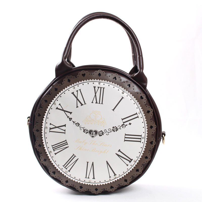 Women Lady Japan Lolita Style Alice in Wonderland Vintage School Round Clock Designer Hand Bag Messenger Bag цена