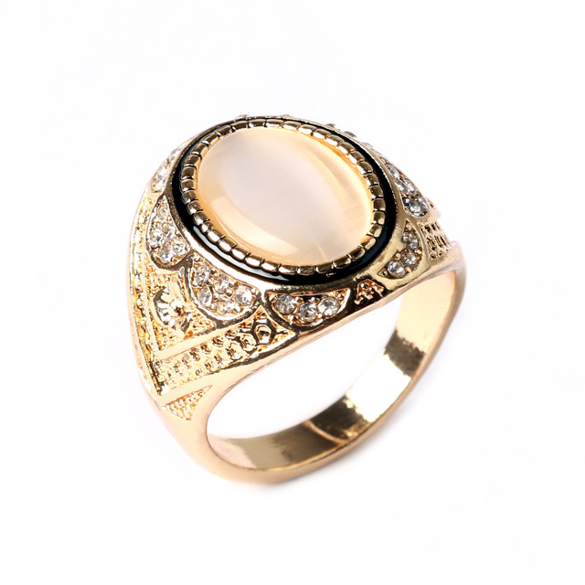 Vintage Synthetic Opal Ring With Stone White Yellow Gold Color Silver Rings For Men And Women Antique Retro Jewelry