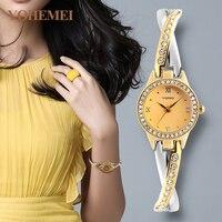 สุภาพสตรีนาฬิกาแฟชั่นนาฬิกาข้อมือหรูหญิงทองนาฬิกานาฬิกาควอทซ์กันน้ำ2017มาใหม่YOHEMEI Relógio Feminino