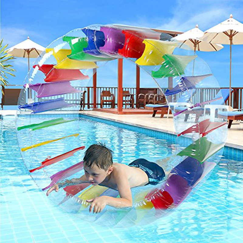 36inch Inflatable Water Wheel Roller Float Outdoor Fun Sport Colorful Giant Roll Ball For Boys and Girls Swimming Pool Toys inflatable water spoon outdoor game water ball summer water spray beach ball lawn playing ball children s toy ball