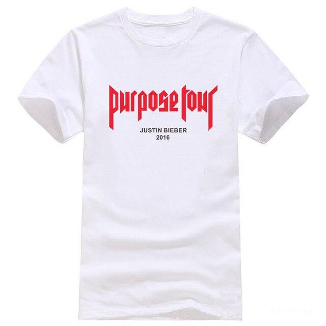 313fb5ae8e07f Justin Bieber Purpose Tour T-shirt Men Fear Of God Letter Print Casual Hip  Hop