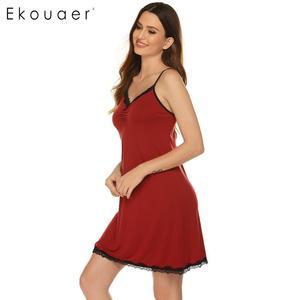 Image 4 - Ekouaer Women Camisole Nightdress Sexy Sleepwear V Neck Sleeveless Lace trim Bow Pleated Loose Summer Nightgown Sleepshirts
