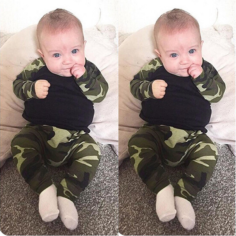 2017 Baby clothing set boy cotton long sleeve T-shirts+pants Infant bebe boys clothes set toddler kids cloth set Camouflage 2pcs baby boy clothing set autumn baby boy clothes cotton children clothing roupas bebe infant baby costume kids t shirt pants