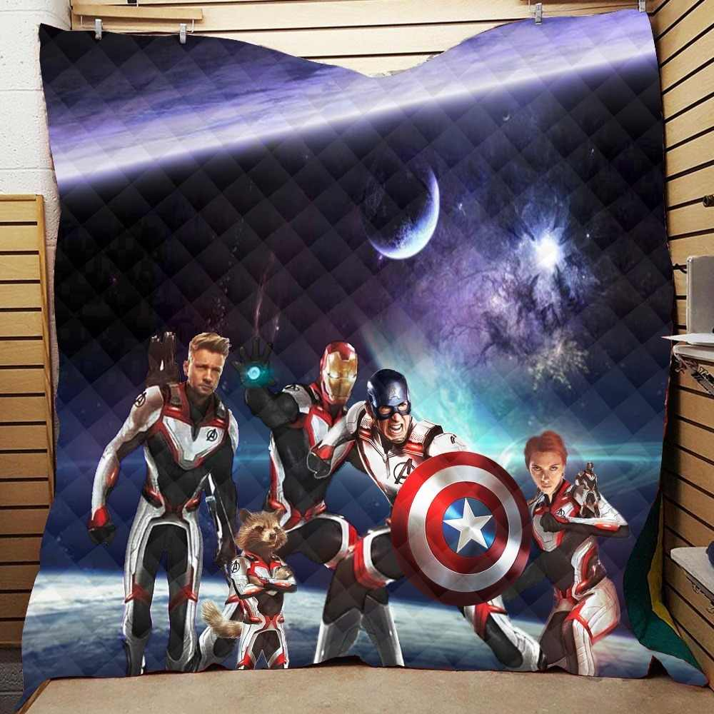 Summer Avengers Endgame Print Quilt For Kids Adults Bed Soft Warm Thin Blanket Cotton Quilt King Size Wholesale Custom Pattern
