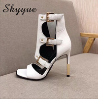 Skyyue New Genuine Leather Gold Metal Heel Summer Autumn Sandals Sexy Open Toe Cutout 11CM Women Sandal Boots brand Shoes Women