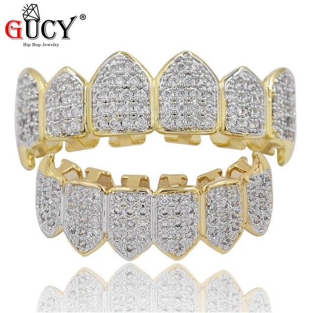 9bc66291e0f7d GUCY хип хоп золотые зубы Grillz Топ и низ все льдом грили зубные  вампирские клыки шапки вечерние украшения для зубов подарок на Хэллоуин