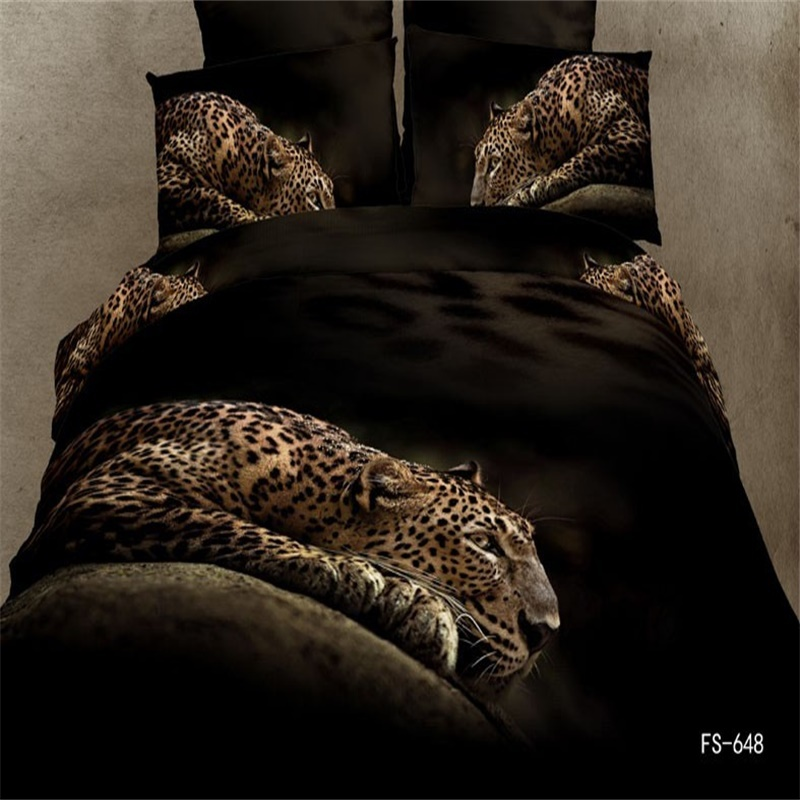 3D Animal Leopard Print Bedding Set 4pcs Queen Size 100% Cotton Duvet Cover Flat Bed Sheet with Pillowcase on Sale