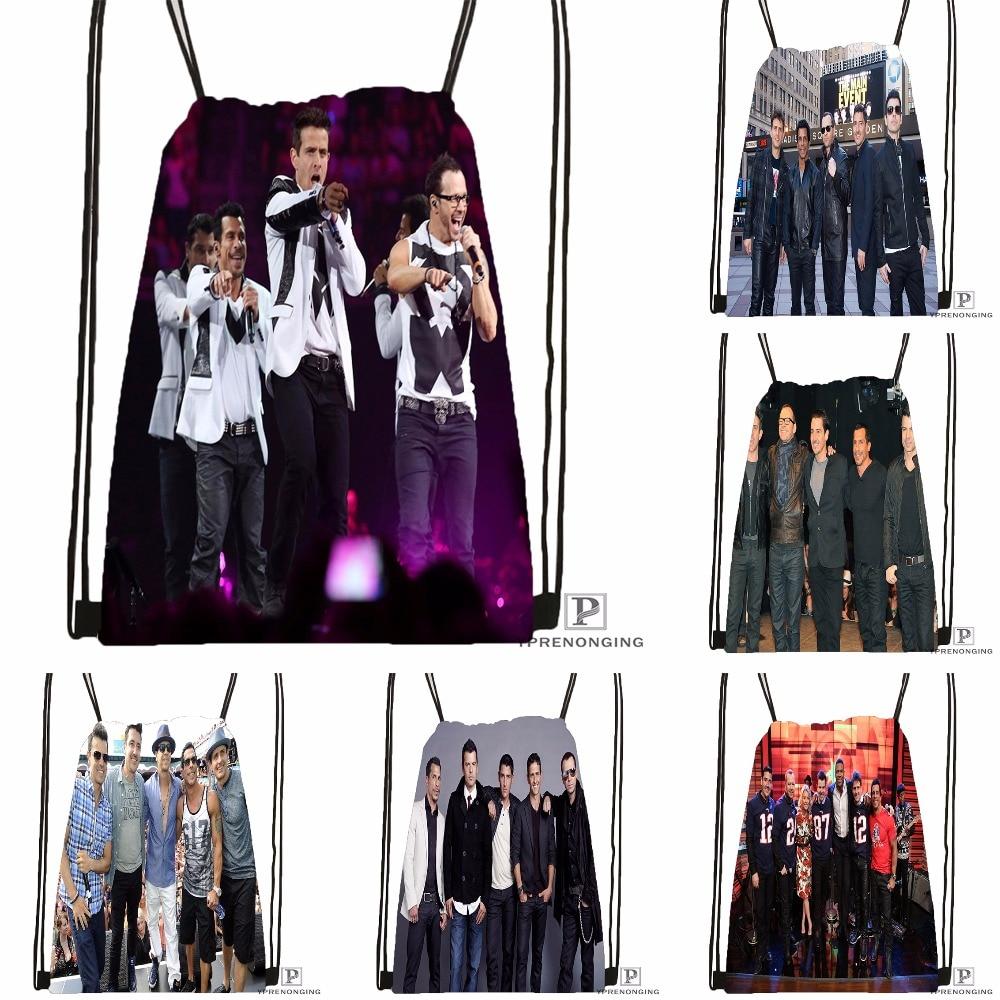 Custom New Kids on The Block Drawstring Backpack Bag Cute Daypack Kids Satchel Black Back 31x40cm