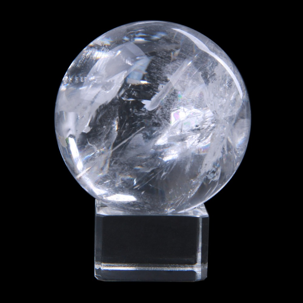 Carved 50mm Clear Quartz Sphere Polished Natural Rock Crystal Ball Healing Crystal Fengshui Home Table Decoration 2018
