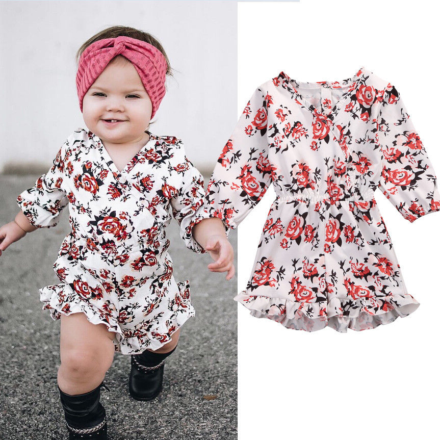 Kids Baby Girls Romper Toddler Infant Girl Cotton Long Sleeve Floral Jumpsuit Outfits Clothes Low Collar Casual Clothing Suit Rompers