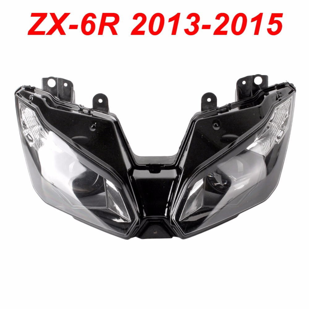 For 13-15 Kawasaki Ninja ZX6R ZX 6R Motorcycle Front Headlight Head Light Lamp Headlamp CLEAR 2013 2014 2015 clear lens motorcycle plastic front light lamp case for kawasaki ninja zx6r 2000 2001 2002 headlight housing set
