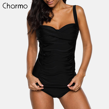 Charmo Women Two Pieces Tankini Set vintage Swimsuit Solid Color suit Retro Bikini Vintage Cross Swimwear Bathing Suit