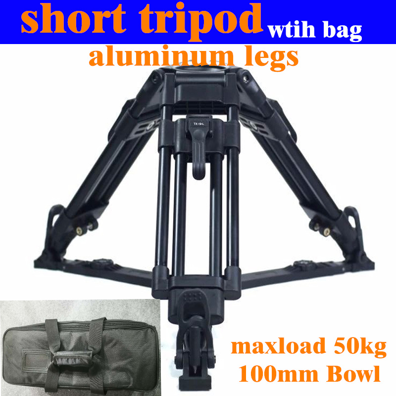 Professional Video Camera Short Tripod Sand Aluminum Legs Tripod Load 50kg for Pan 100mm Bowl Fluid