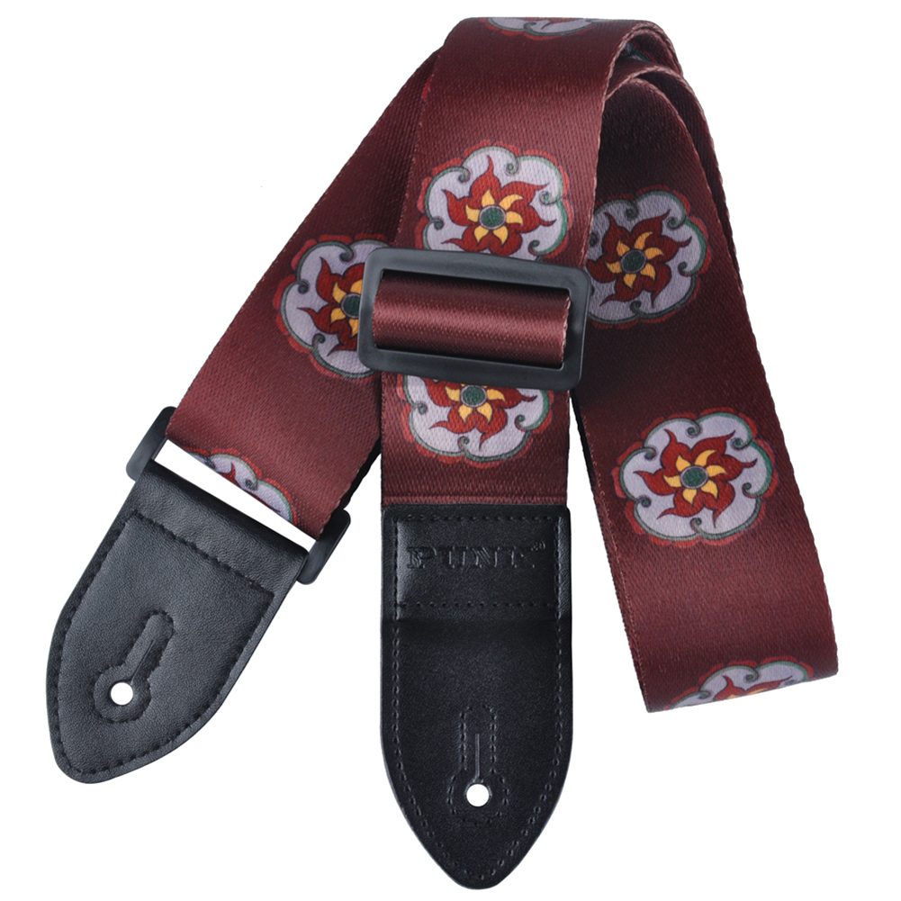 12pcs (Polyester painted guitar strap folk guitar / acoustic guitar strap Dark red snow lotus 12pcs irin adjustable guitar strap for electric acoustic folk guitar coffee