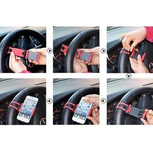 Image 5 - 유니버설 자동차 스티어링 휠 클립 마운트 홀더 핸드폰 홀더 아이폰 8 7 7 plus 6 6s 삼성 xiaomi 화웨이 휴대 전화 gps