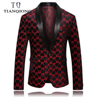 TIAN QIONG Brand Red Blazer Men 2019 Spring Slim Fit Men's Blazers and Suit Jackets Brand 5XL Casual Blazers for Men
