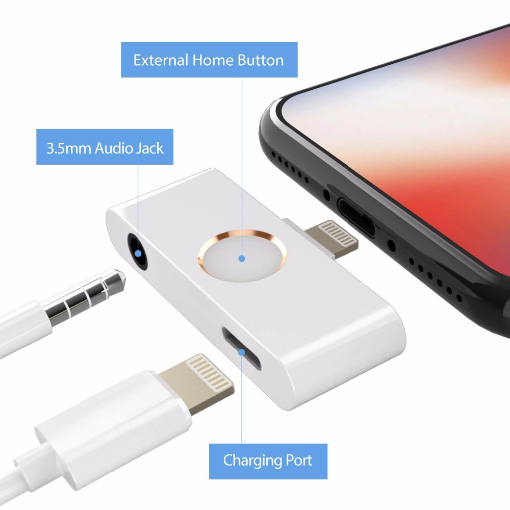 Newest replacement home button adapter For iphone X 10 8 support home key and Audio jack listening charging at the same time