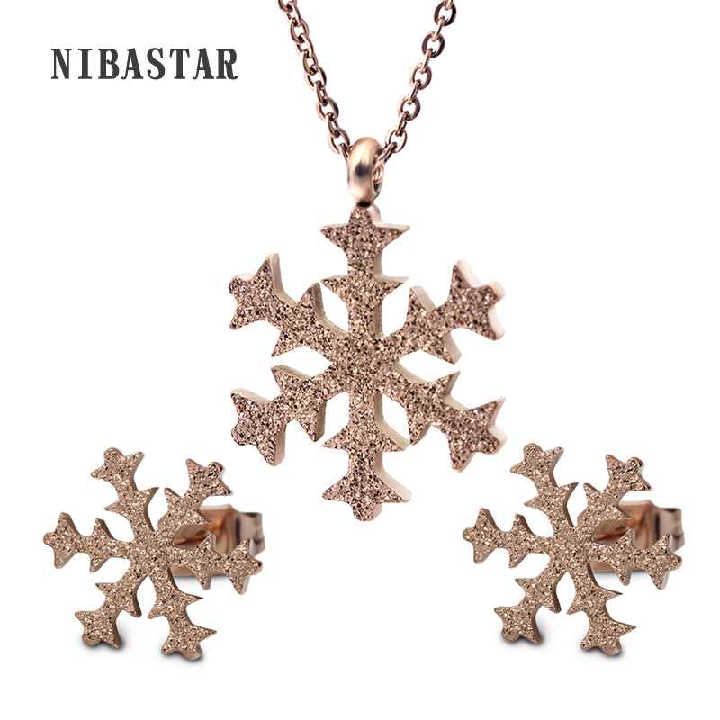 Hot Fashion Sparking Rose Gold Color Women Jewelry Sets Including Snow Stud Earrings & Snow Pendant Necklace