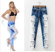 2016 Spring Women Long Splice Lace Pencil Pants Slim Feet Denim Low Waist Blue Jeans
