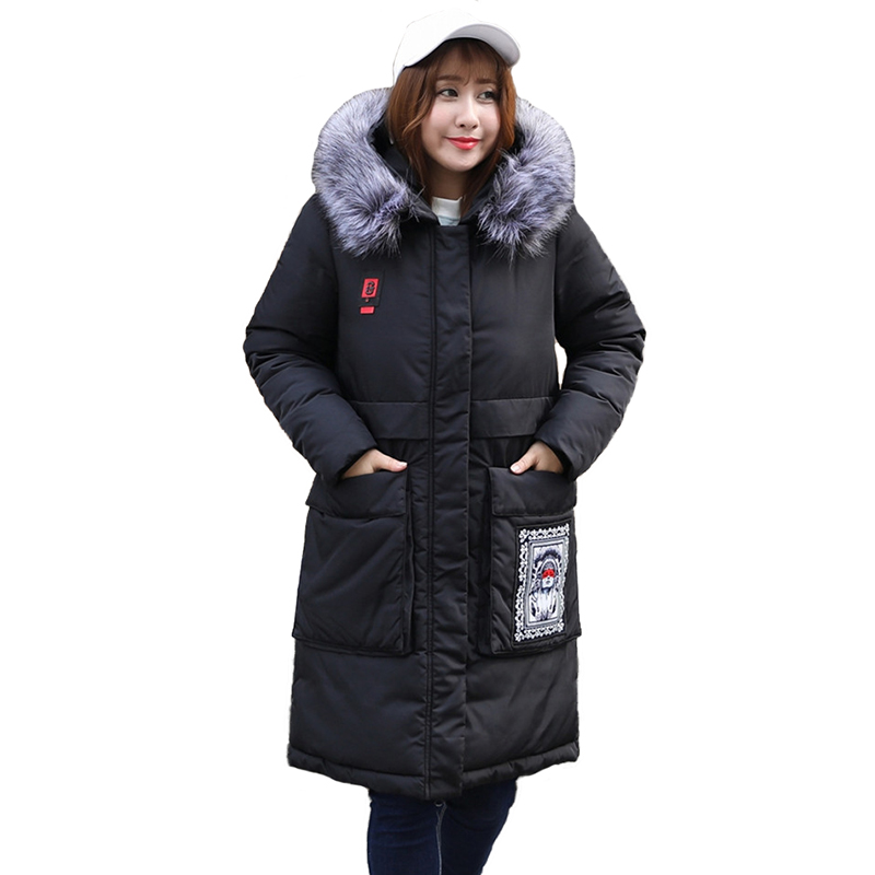 Super Large size 8XL Winter   Parkas   Women Down cotton Jacket Thicken Coat Fur collar Hooded Tops female Loose Long Cotton Coats