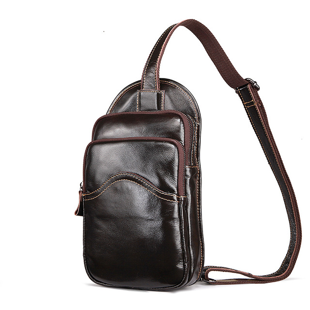 Vintage Genuine Leather Men S Chest Pack Tourist Travel Bags Small Crossbody Soft Cowhide Male