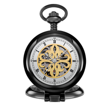 Vintage Charm Black Unisex Classic Roman Number Carved Hollow Pocket Watch Women Men Watch Pendant with Chain Gifts