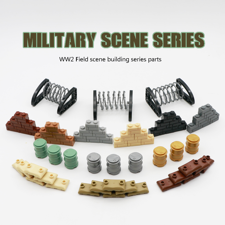 Military Scene Weapon Pack Bricks Sandbag Oil Drum Wire Barrier Army Soldier WW2 Military Base LegoINGlys Building Blocks Toys
