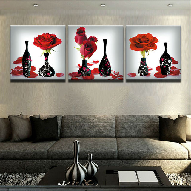 Contemporary Living Room Art Pine Furniture Modern Painting Decor On Canvas Wall 3 Panel Red Roses Flower Black Vases Home Decoration