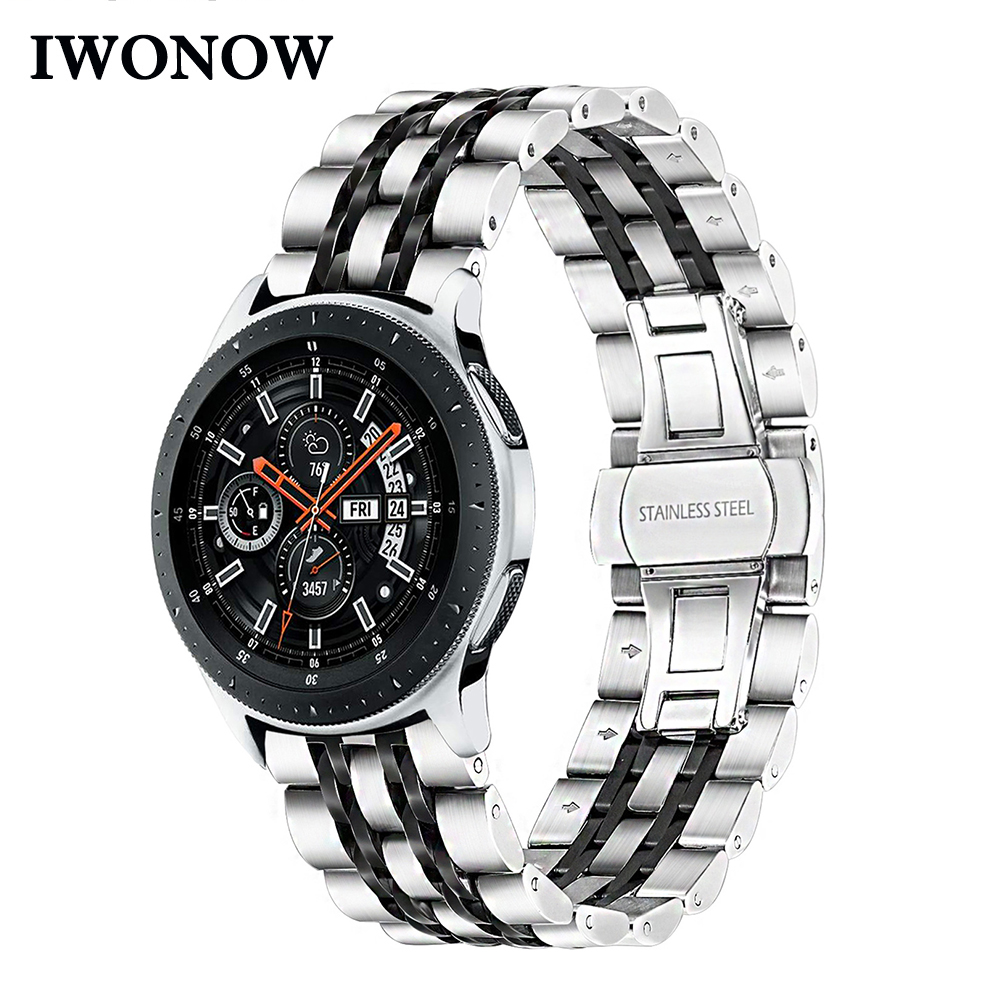 iWonow Stainless Steel Watchband + Link Remover for Samsung Galaxy Watch 46mm SM R800 Quick Release Band Butterfly Clasp Strap
