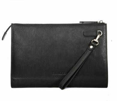 2018 new P.KUONE Brand 100% Genuine Leather Clutch Bag Black Envelope Male Wallet Handbag Male Clutch