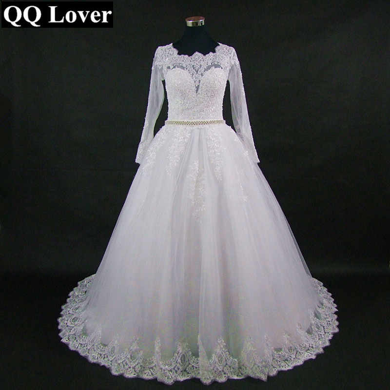 QQ Lover 2019 New Arrival Vestido De Noiva Amazing Back Design Full Sleeves Lace Wedding Dress Wedding Gown Bridal Dress