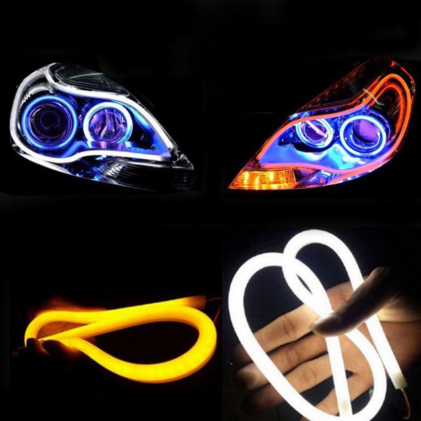 цена на 2pcs LED Strip Tube Light for Car Head Lamp DRL Trun Signal Lights Soft Flexible 12V Car Lighting 30CM 45CM 60CM 85CM White
