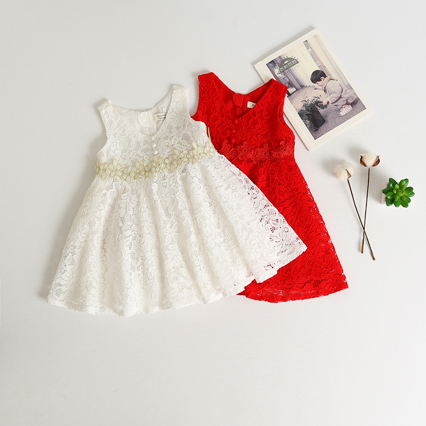 sea kids mall New Baby Girls Lace Floral Vest Dresses, Princess Kids Fairy Summer Dress 5 pcs/lot, Wholesale
