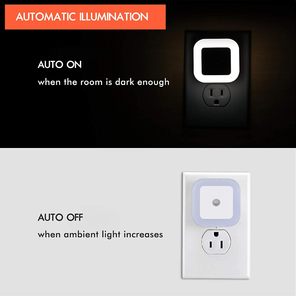 Plug In Led Night Light Lamp With Dusk To Dawn Sensor For