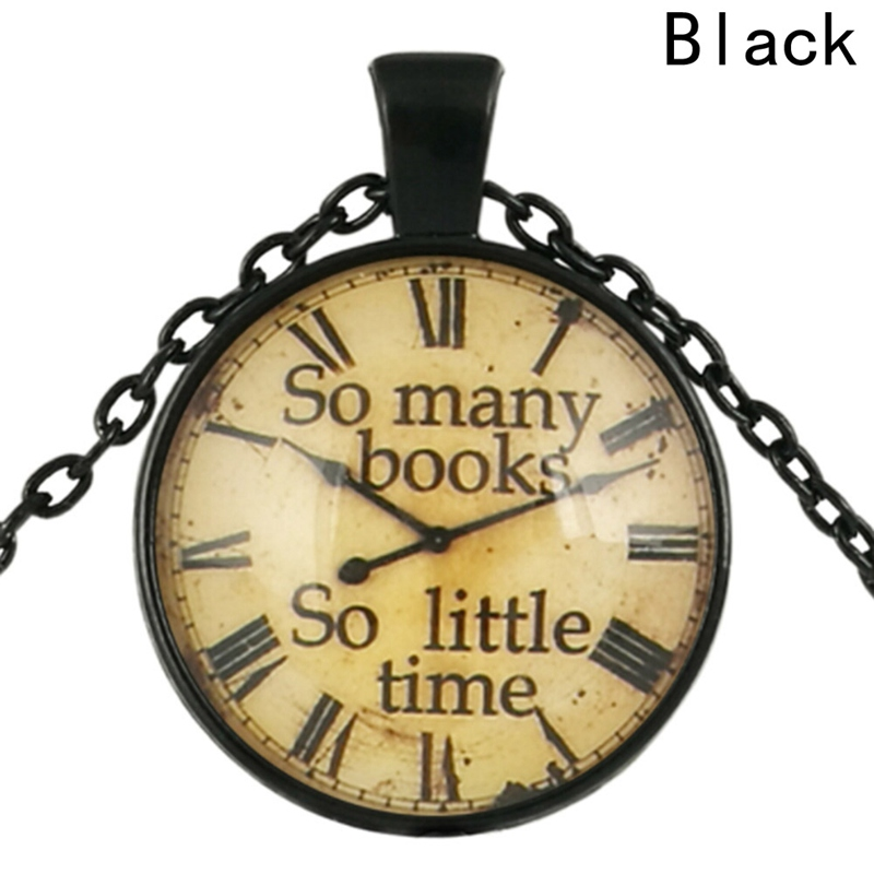 New Style So Many Books So Little Time - Bookworm Quotation Necklace Glass Photo Cabochon