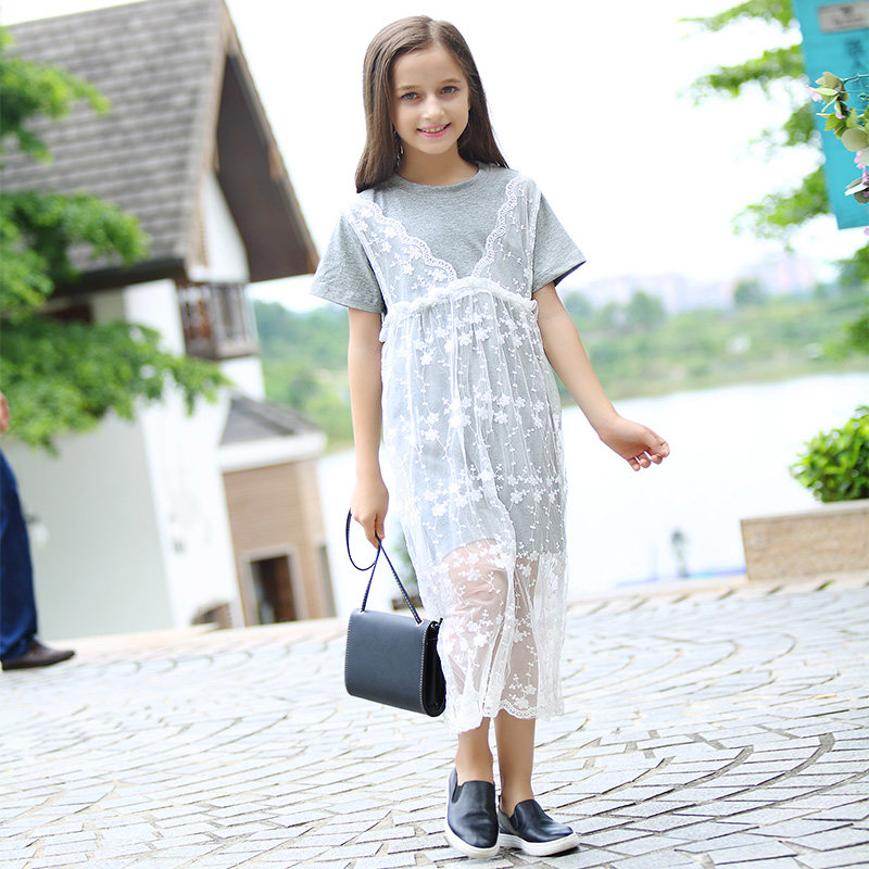 2016 cute fashion 2pcs dress school girls cotton lace crochet frocks