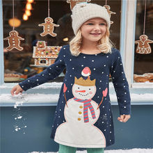 Children girls dresses applique 2018 clothing dresses girl snowman long  sleeve kids clothes princess fashion cotton 4a6d7bb7d848